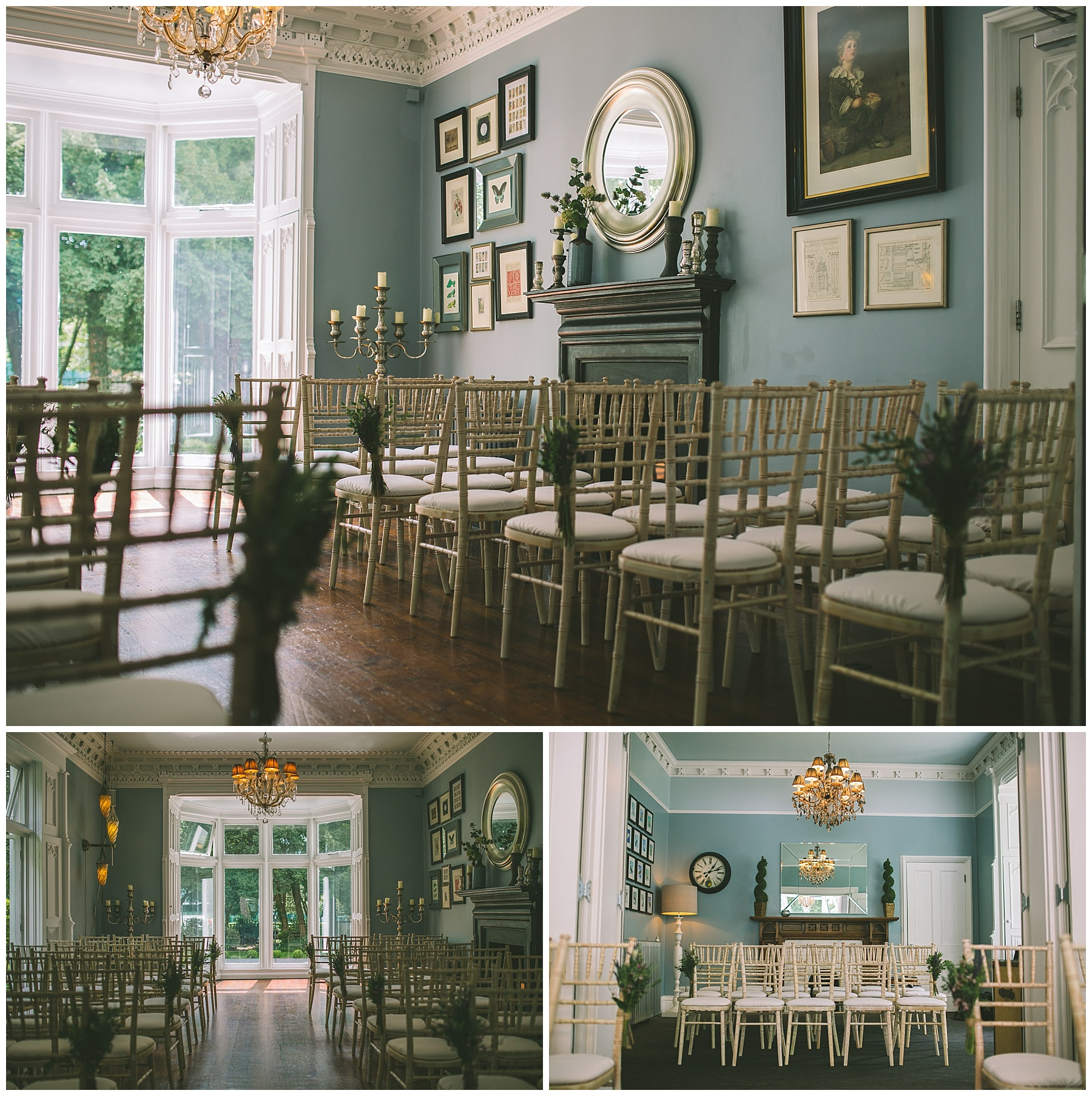 The Blue room at Didsbury House Hotel set out for a wedding