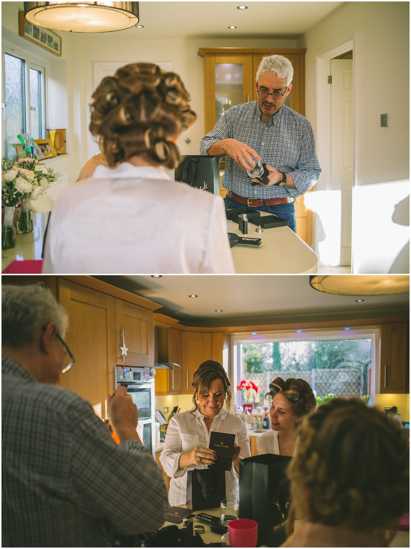 Mother and Father of the bride open gifts on the wedding morning