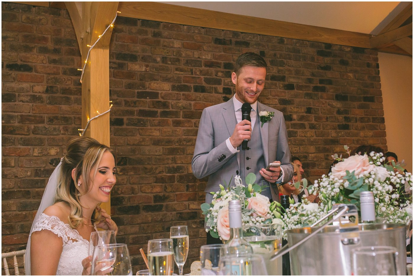 Groom gives his speech at pryors hayes