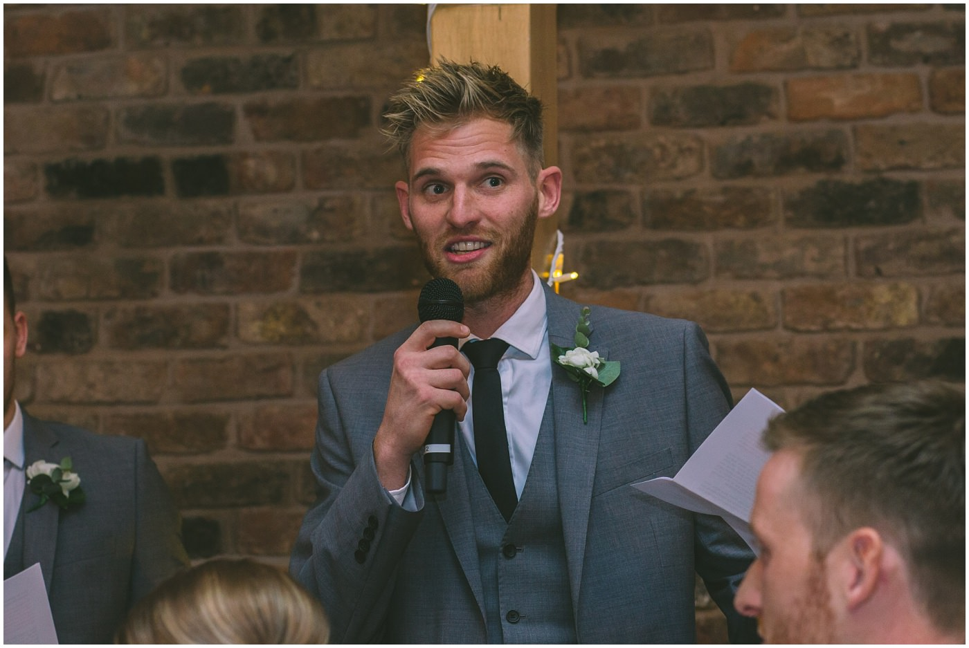 Best man delivers his speech at Pryors Hayes