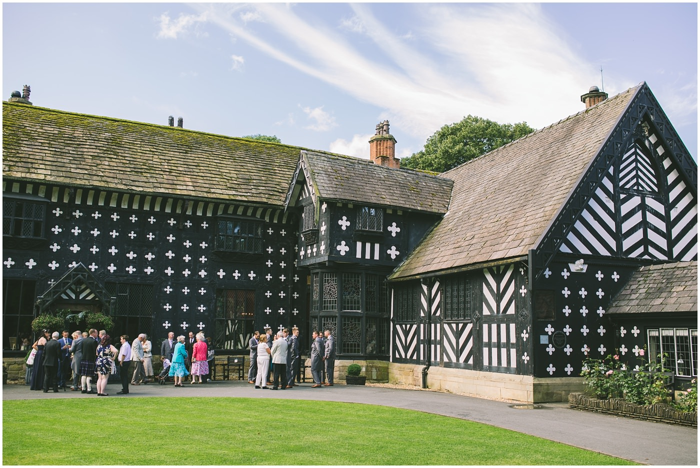 Guests gather at the historic samlesbury hall