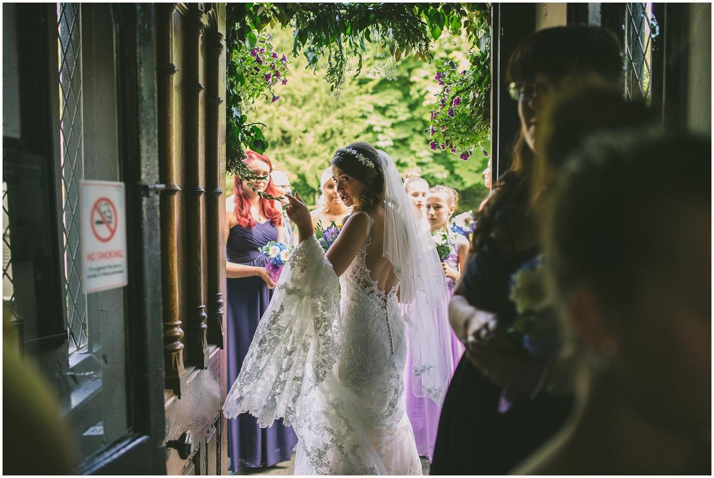 Bride arrives at Samlesbury Hall
