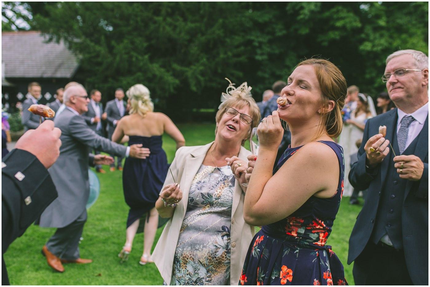 guests enjoy canapes at Samlesbury Hall