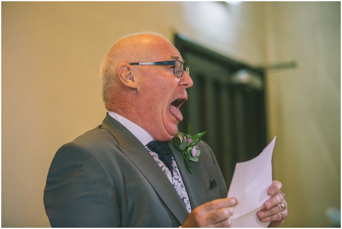 Father of the bride gets over excited during his speech