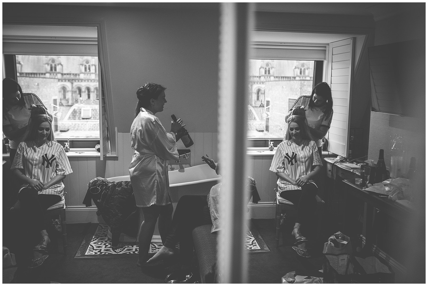 Bridal preparations at King Street Townhouse Wedding