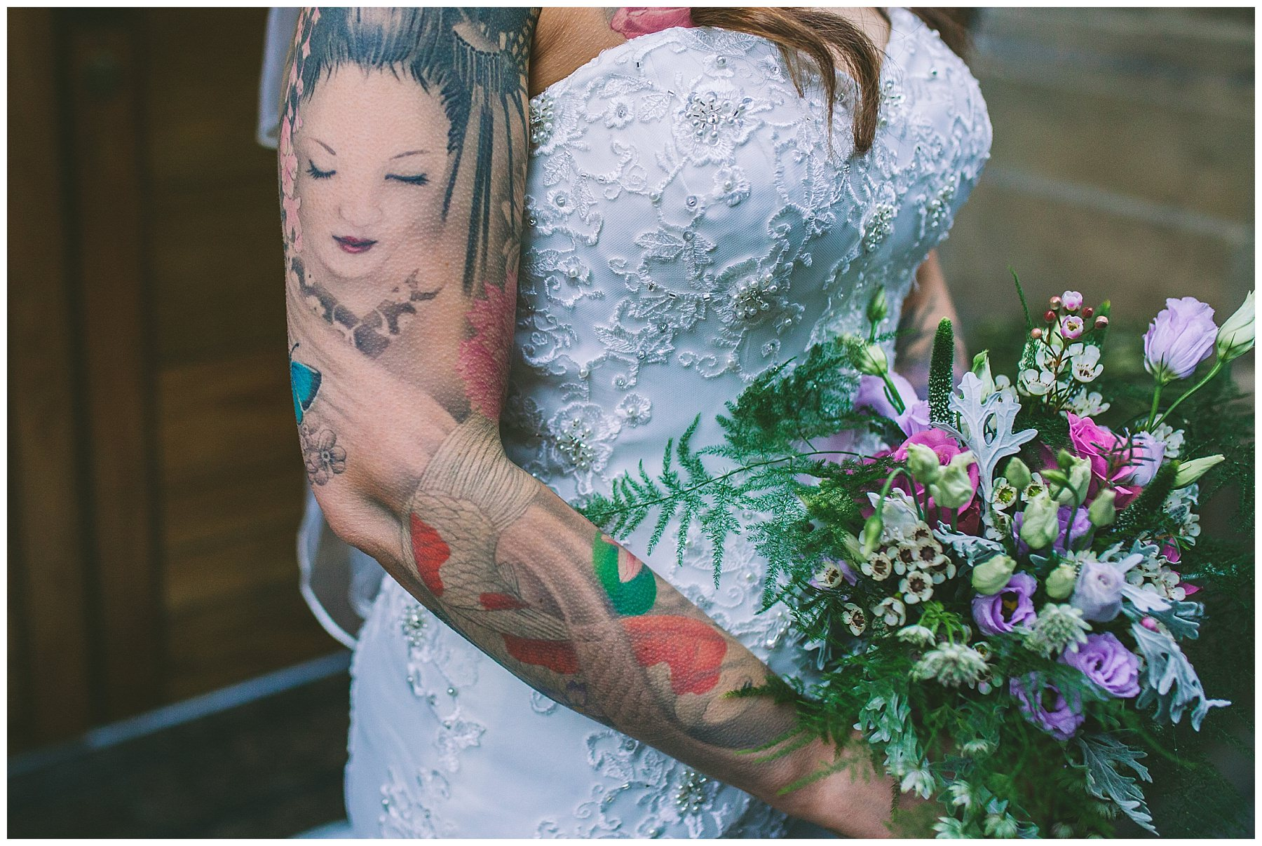 tattooed bride and bouquet