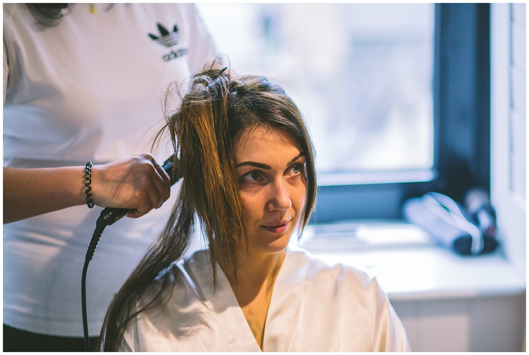 bride has her hair done at King Street Townhouse Manchester