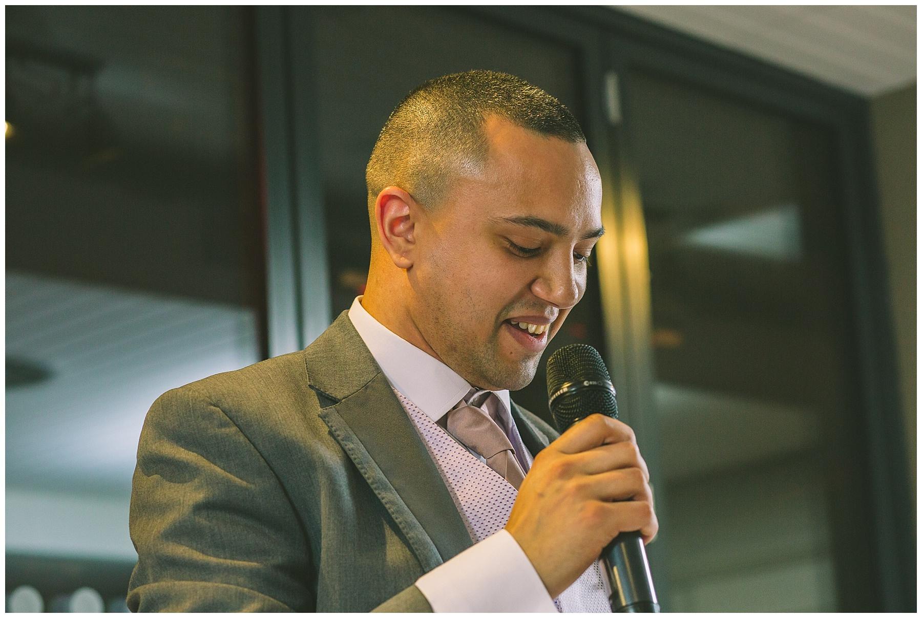 groom gives a speech at Manchester Wedding