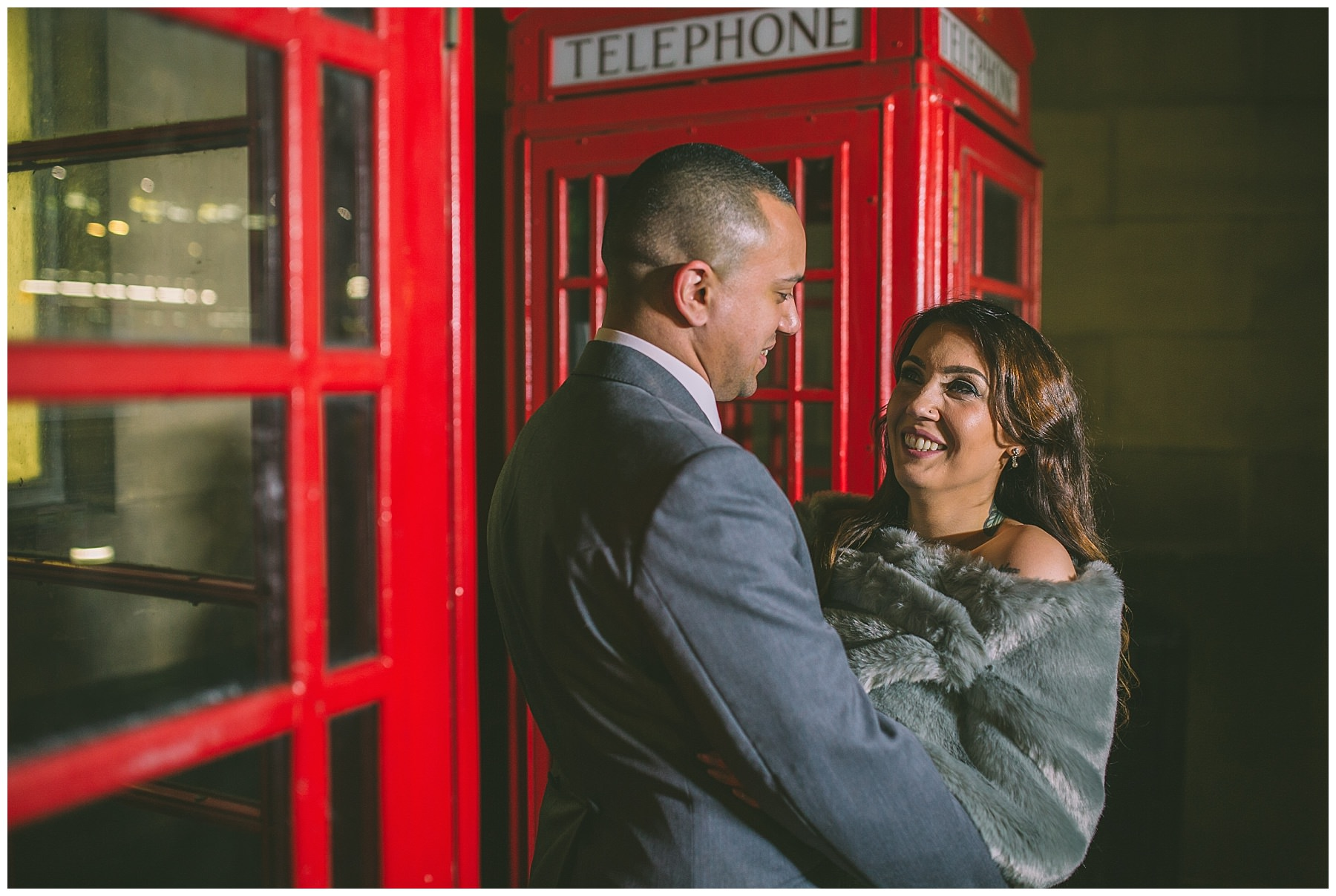 Winter wedding portraits on the streets of manchester