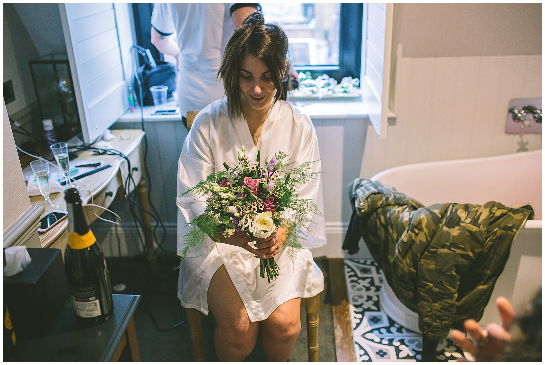 Bride receives her bouquet from Northern Flower Manchester