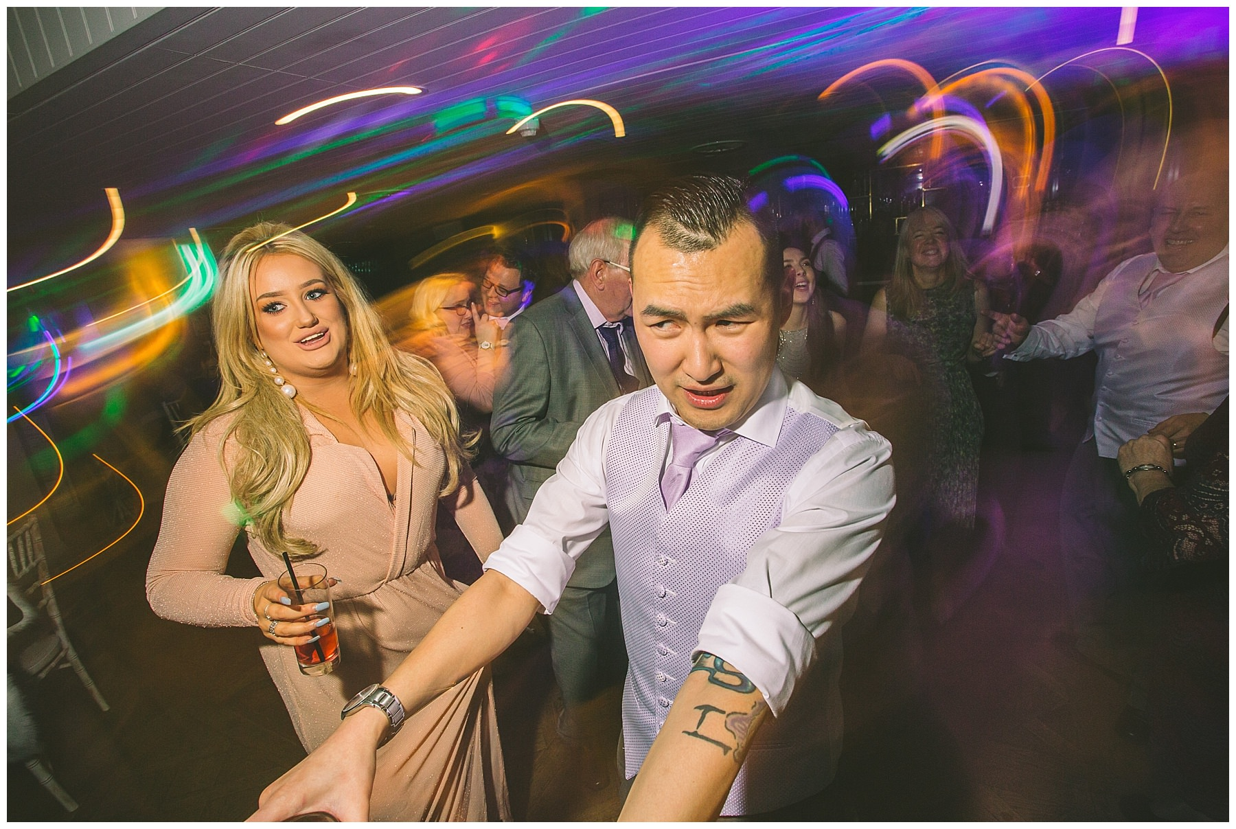 dancefloor party at Winter wedding