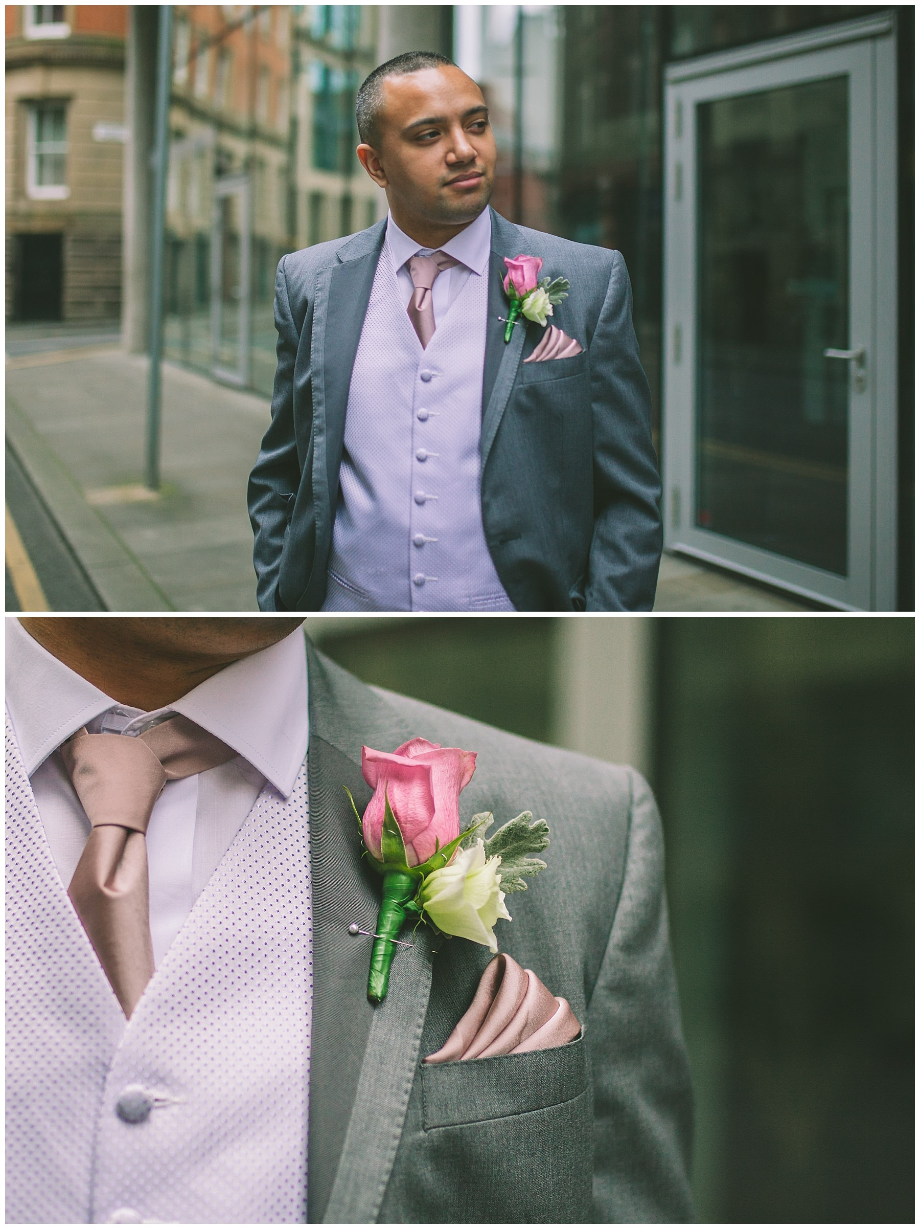 Groom portrait outside King Street Townhouse Manchester