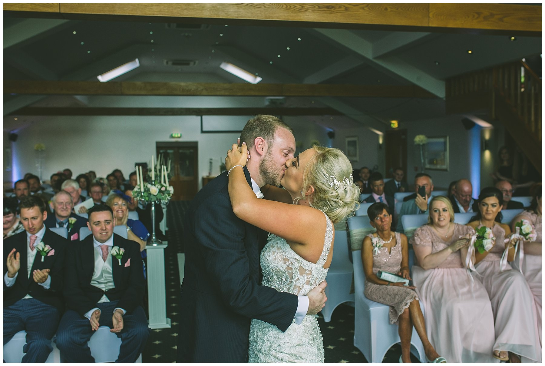 First kiss as bride and Groom at the fishermans retreat