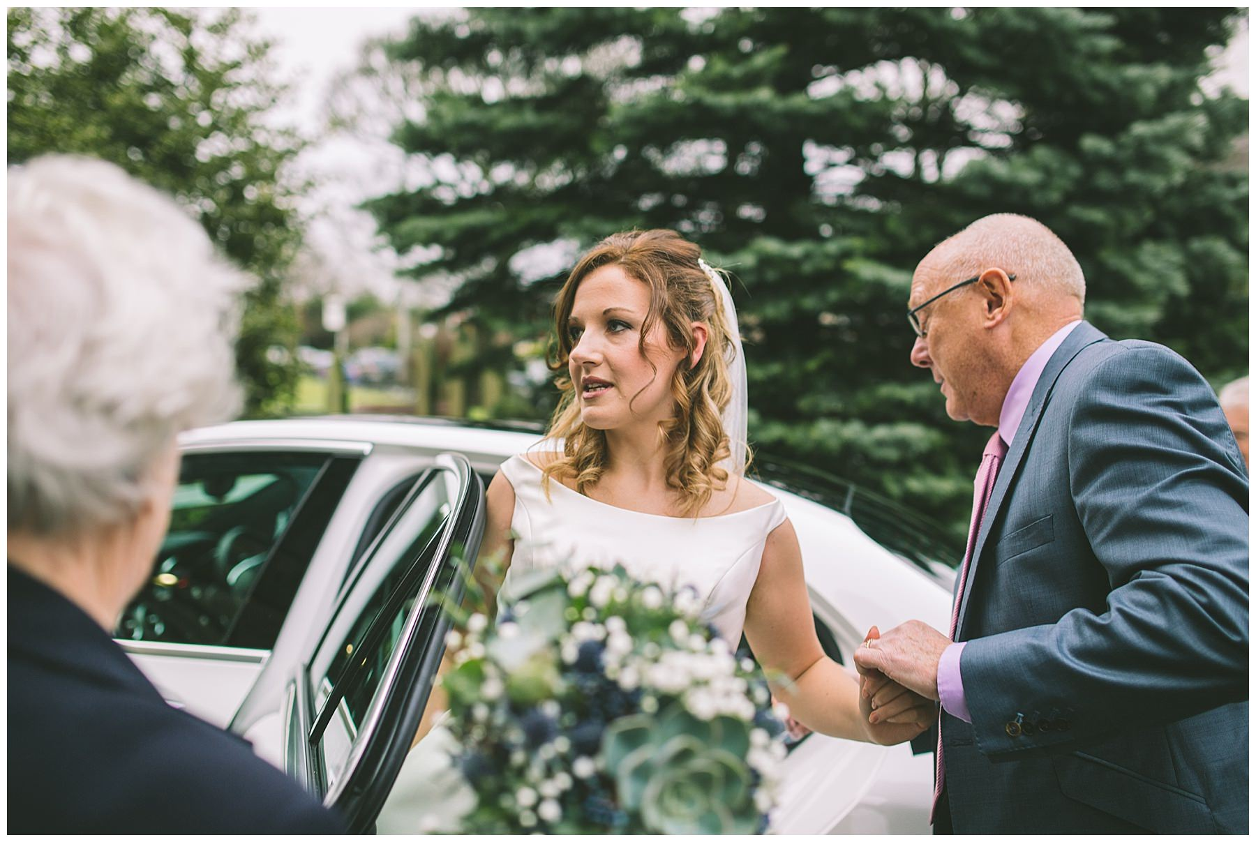 Bride arrives at church for ramsbottom wedding