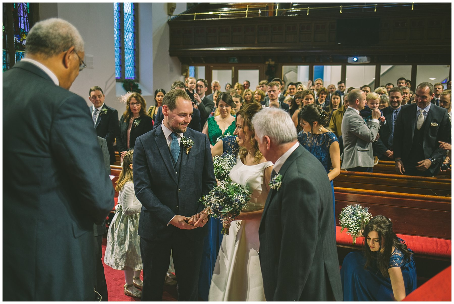 Groom sees his bride for the first time at ramsbottom wedding