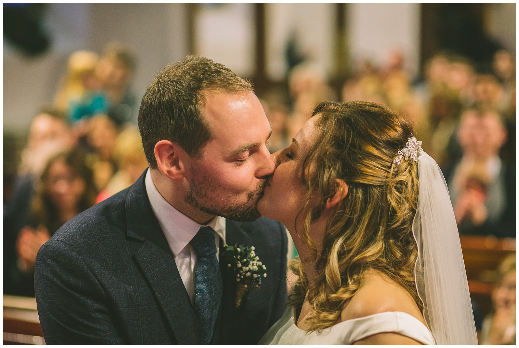 First kiss during church wedding in Ramsbottom