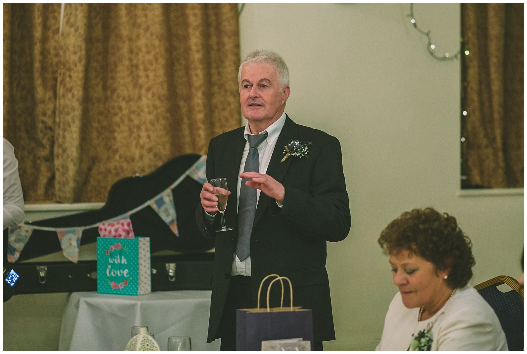 Father of the bride gives a speech at Ramsbottom Civic Hall