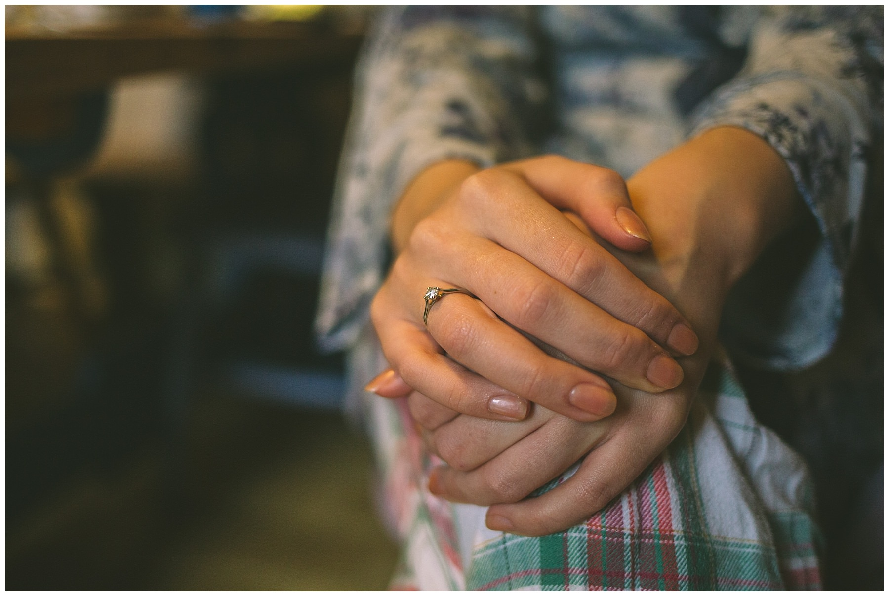 Engagement ring worn by nervous bride