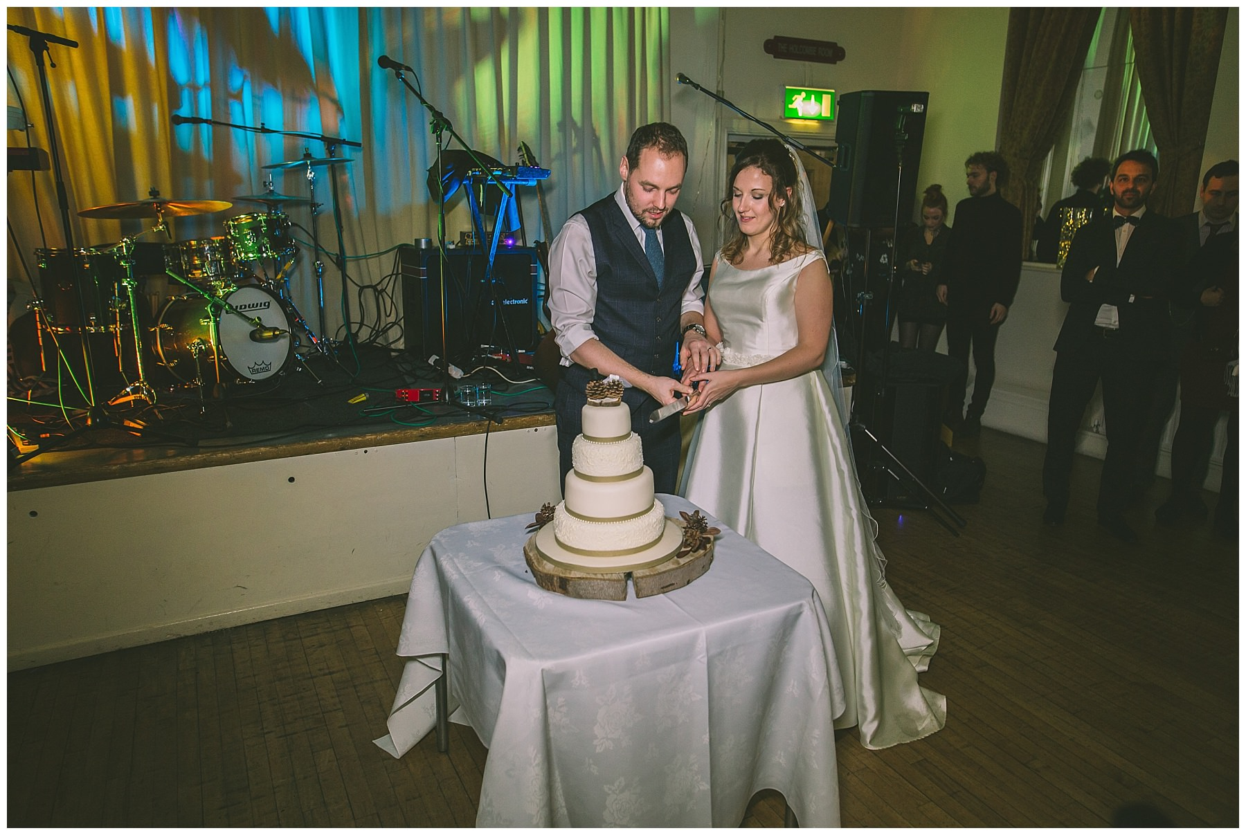 Cake cutting at ramsbottom wedding