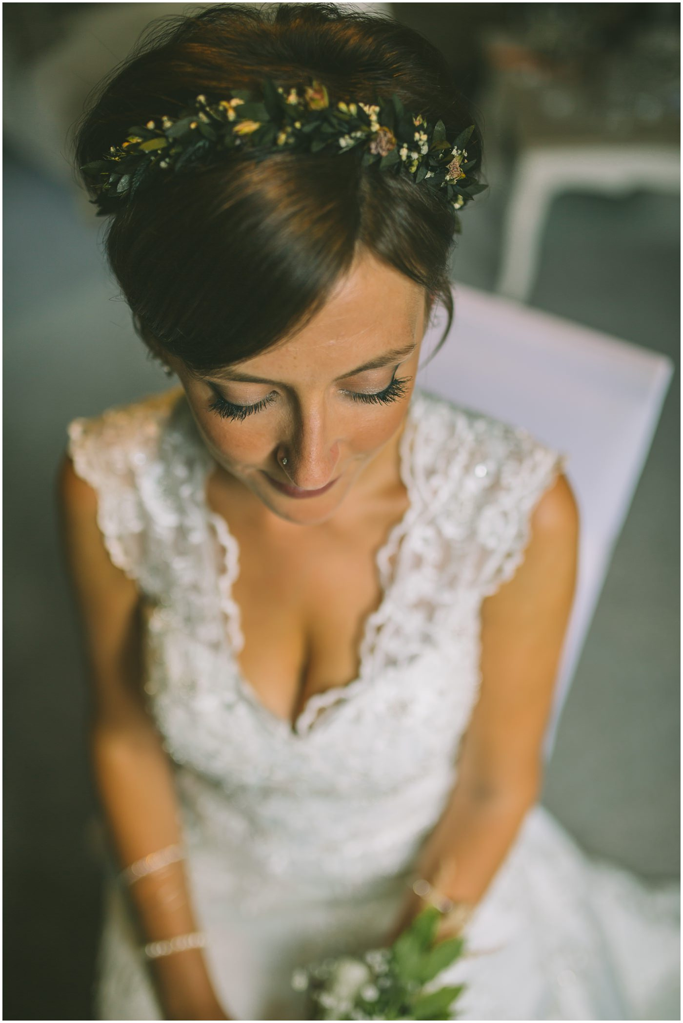 Bridal portrait in beautiful window light in bridal prep room
