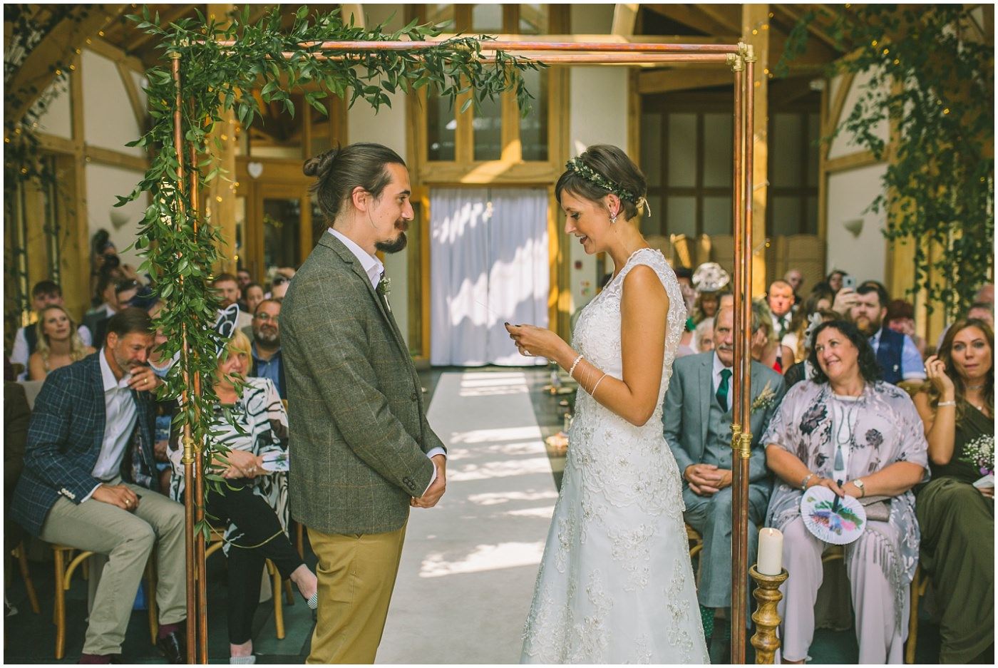 Bride reads her vows during wedding ceremony