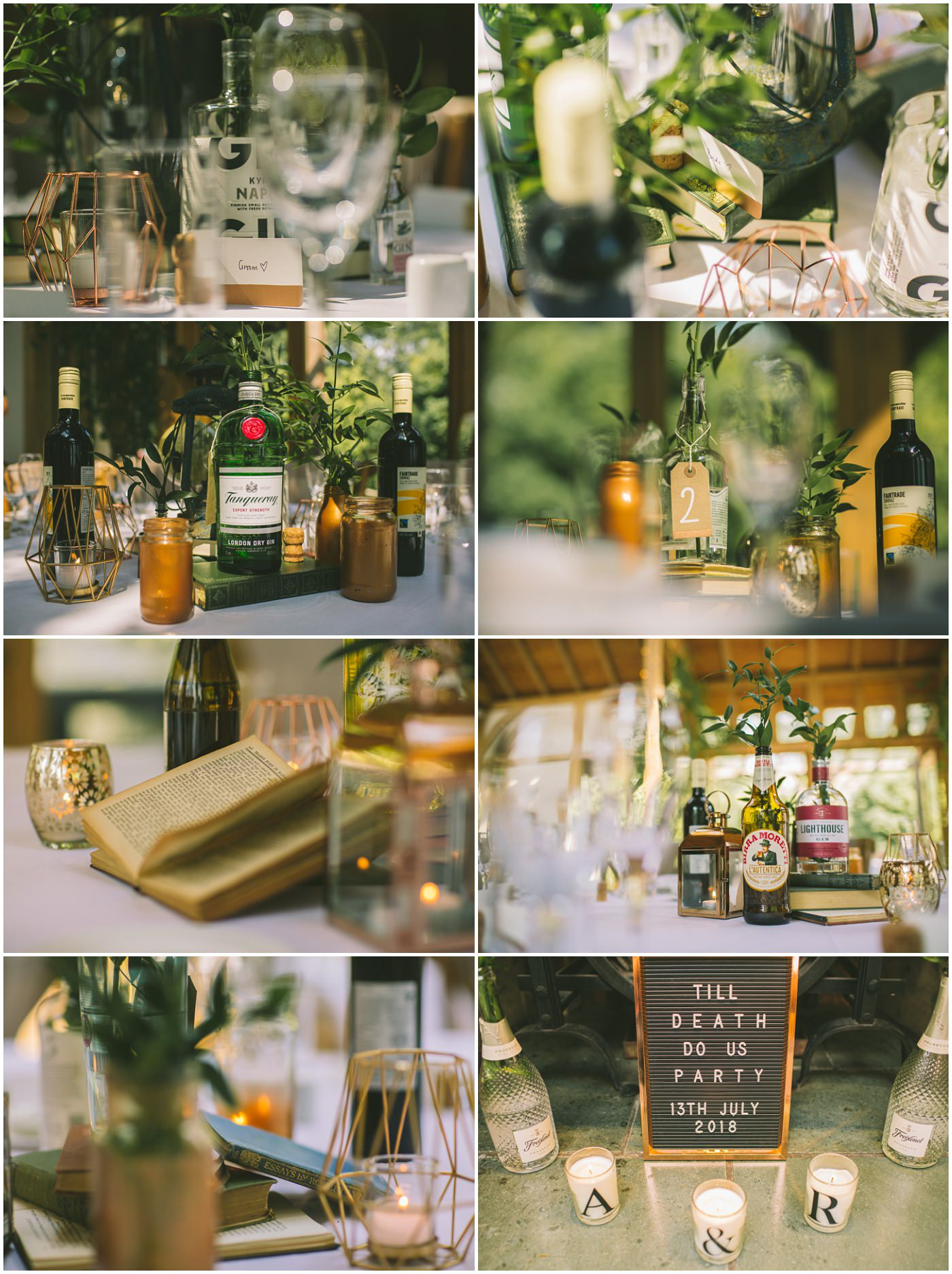 beautiful details and gin bottle centrepieces used in rustic DIY upcycled wedding