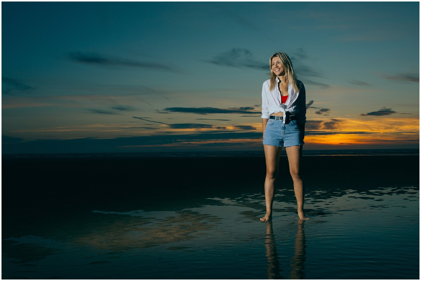 Model on Formby Beach at sunset