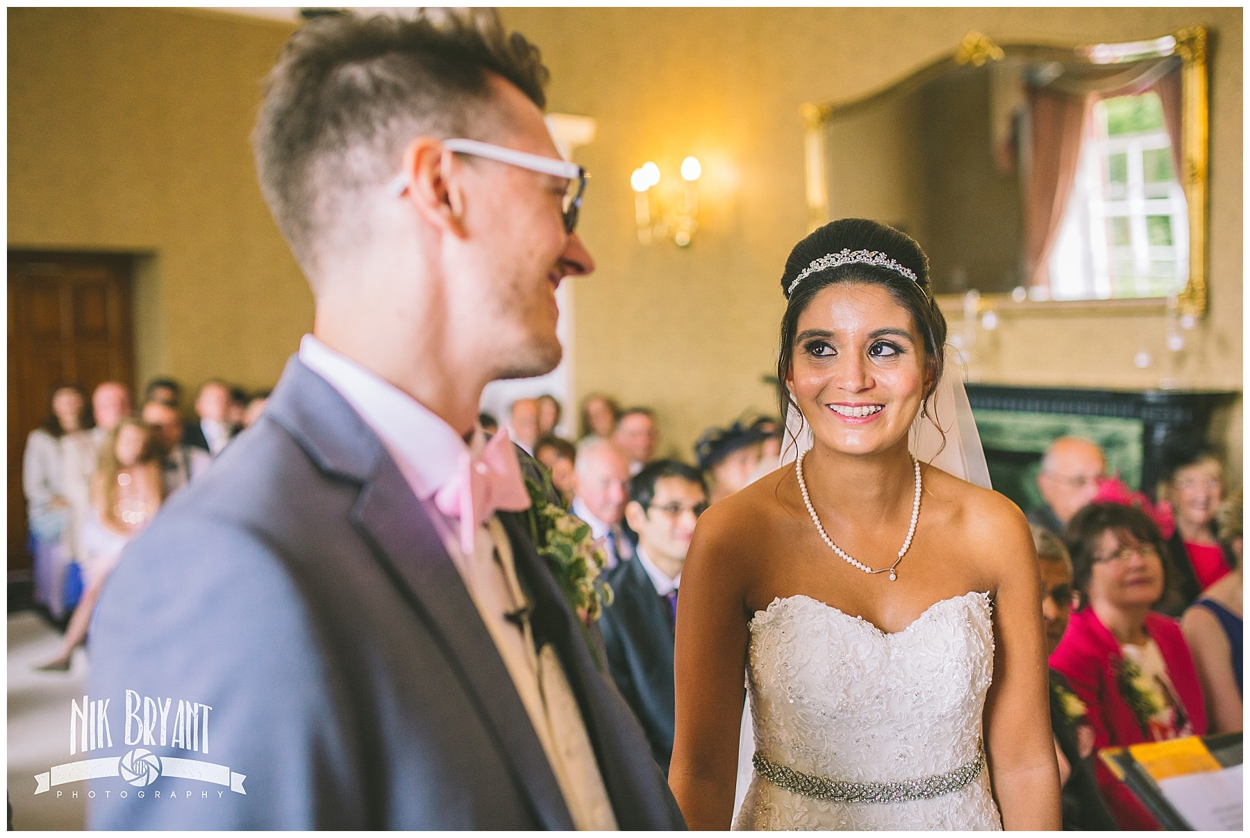 Bride and groom during wedding ceremony at shrigley hall