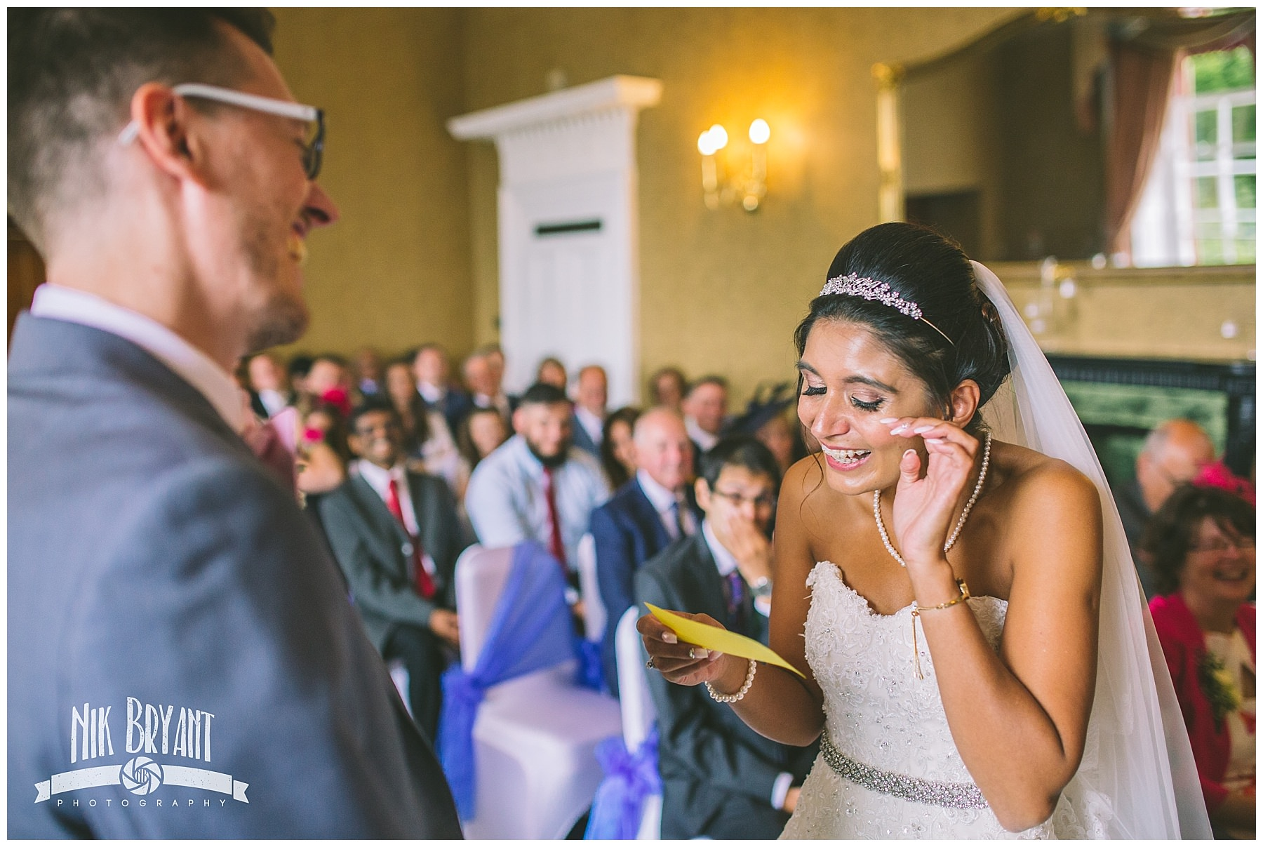 Bride becomes emotional as she reads her vows