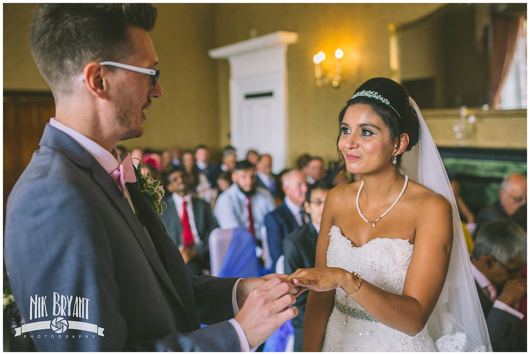 Ring exchange at shrigley hall wedding ceremony
