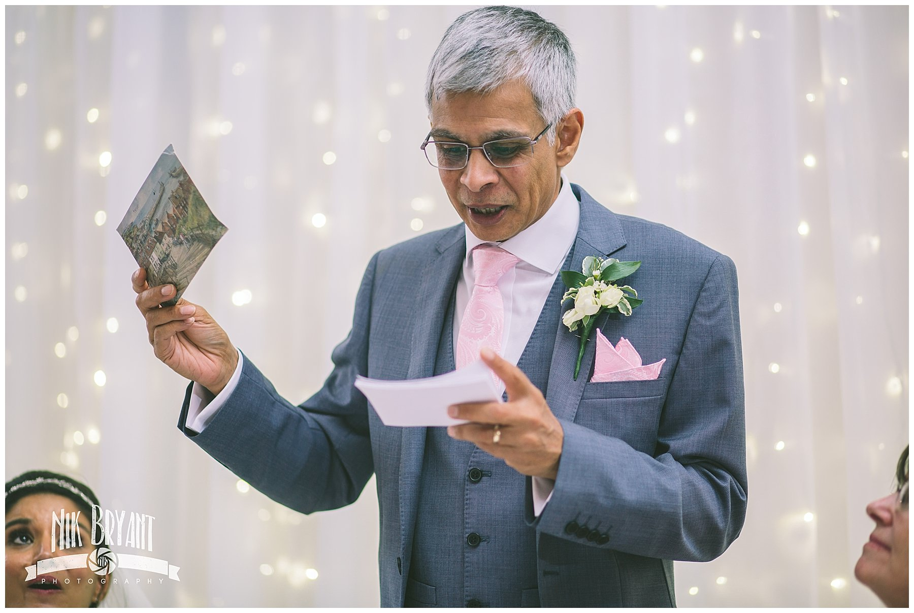 Father of the bride speaks about his daughter at her wedding
