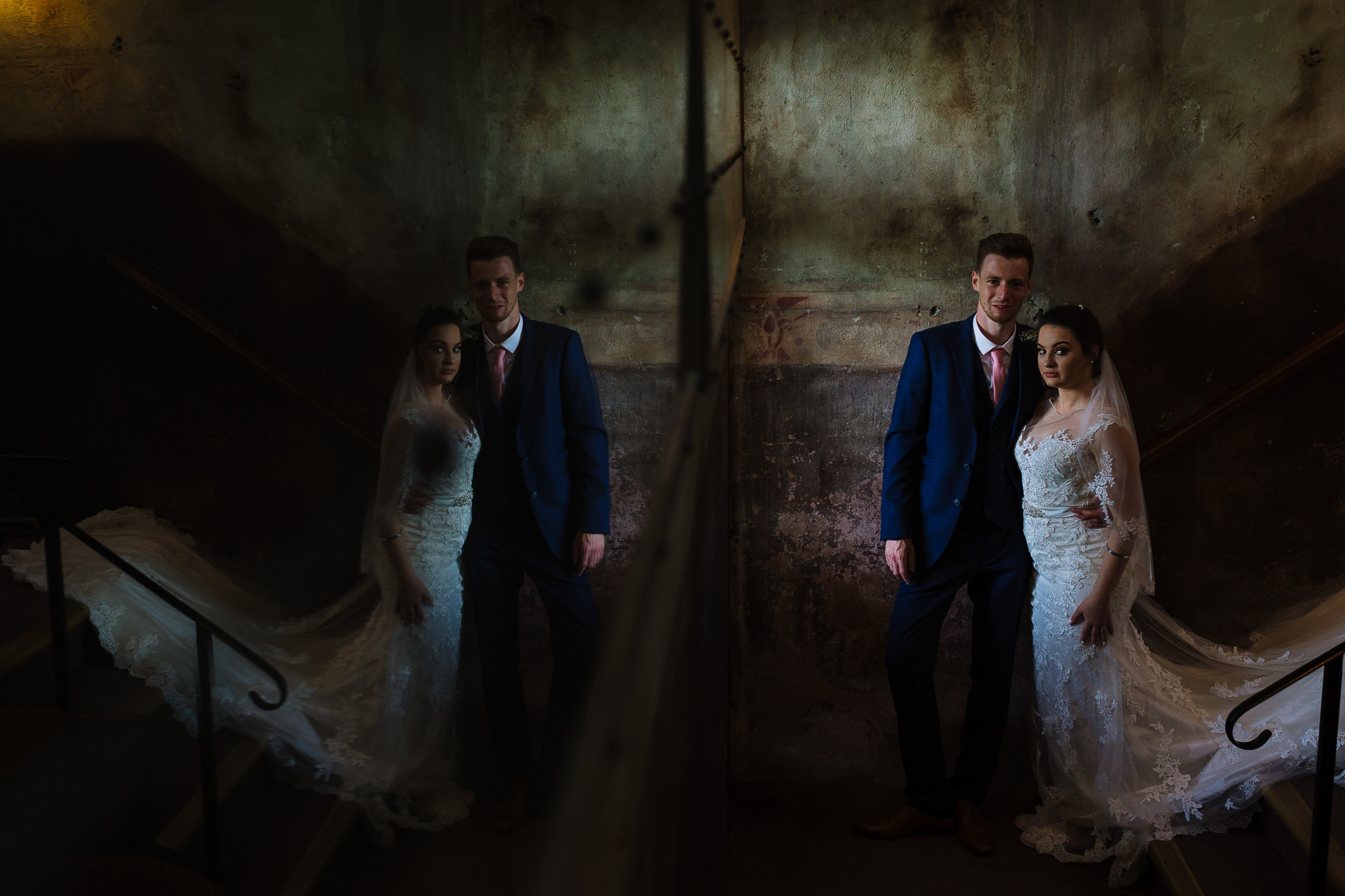 Creative wedding portraits at Holmes Mill