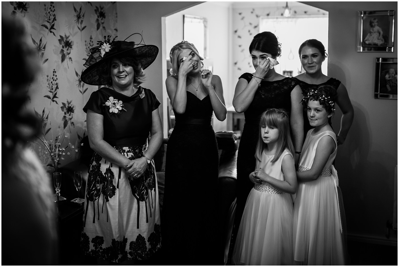 Bridesmaids cry as they see bride for first time