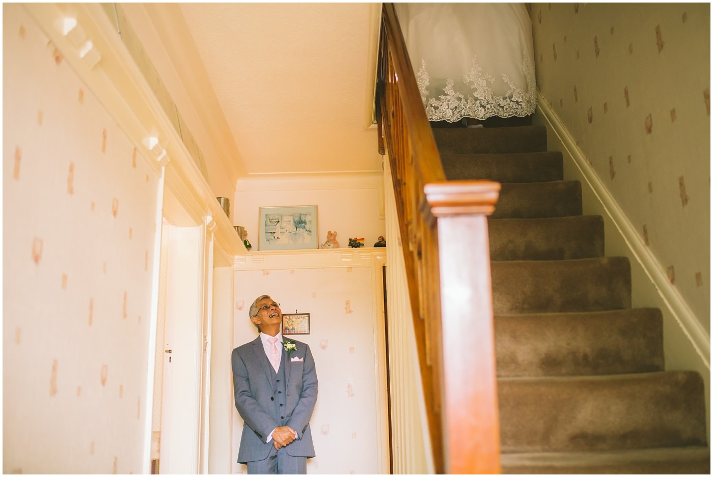 Father of the bride waits patiently to see his daughter