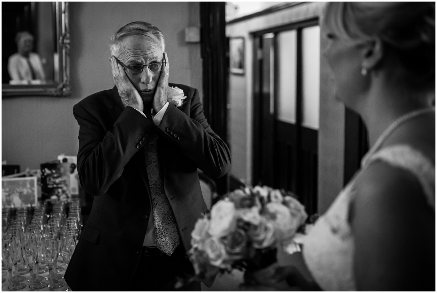 Father of the bride cries when he first sees his daughter