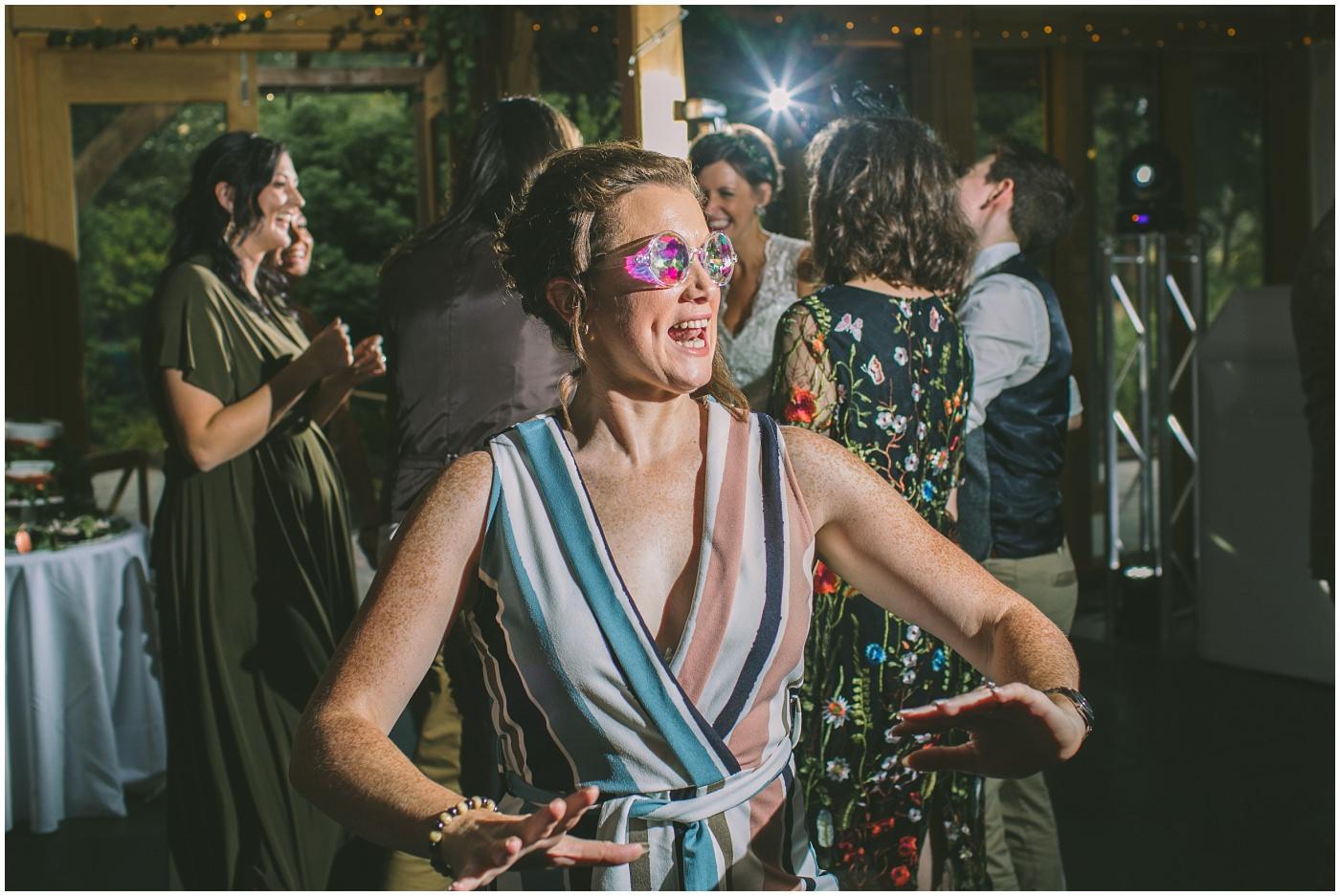 wedding guest has fun on dance floor