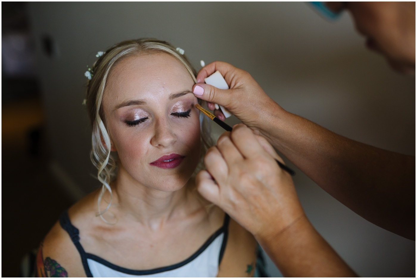 bride has make up by team at waterton park