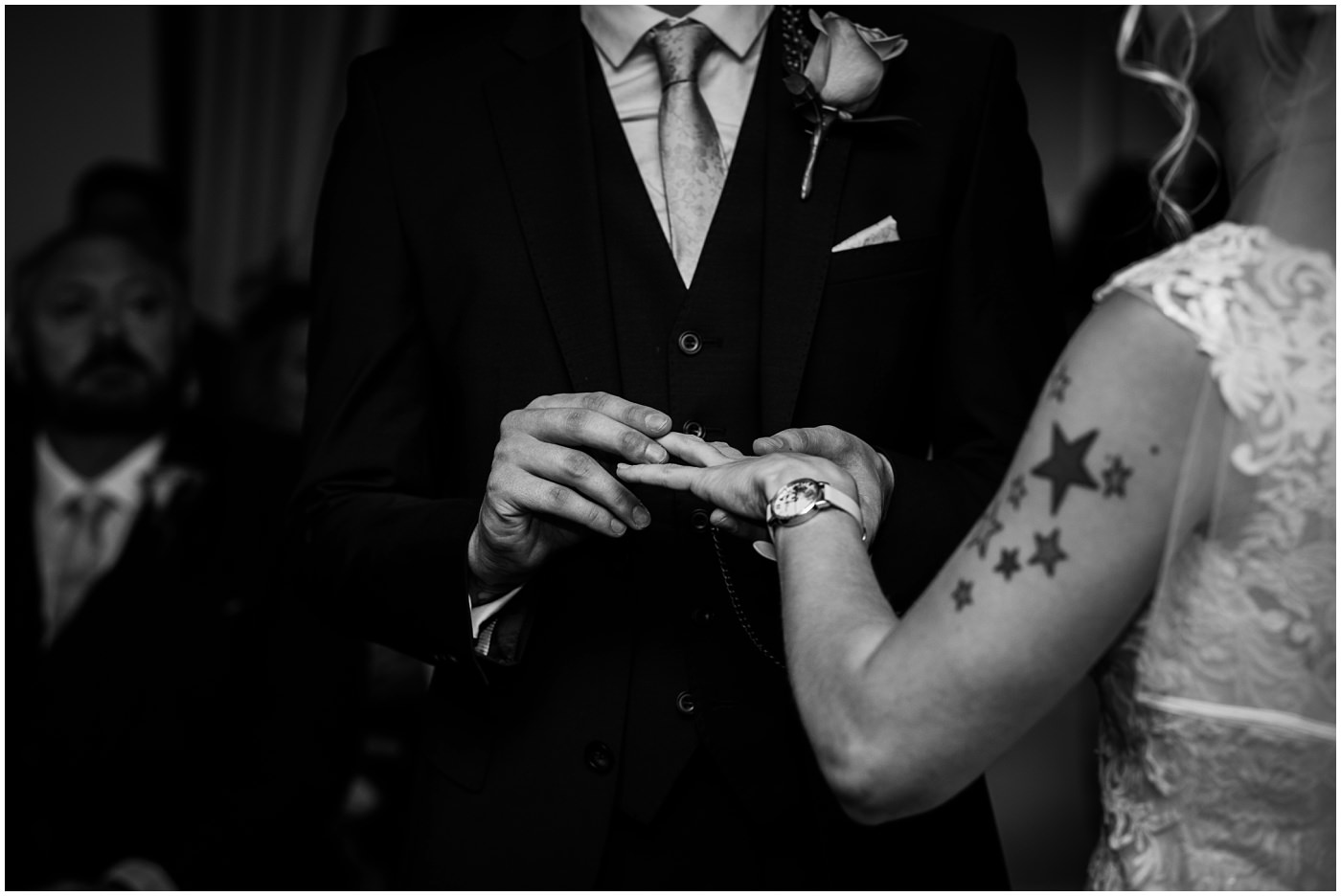 black and white wedding ring exchange