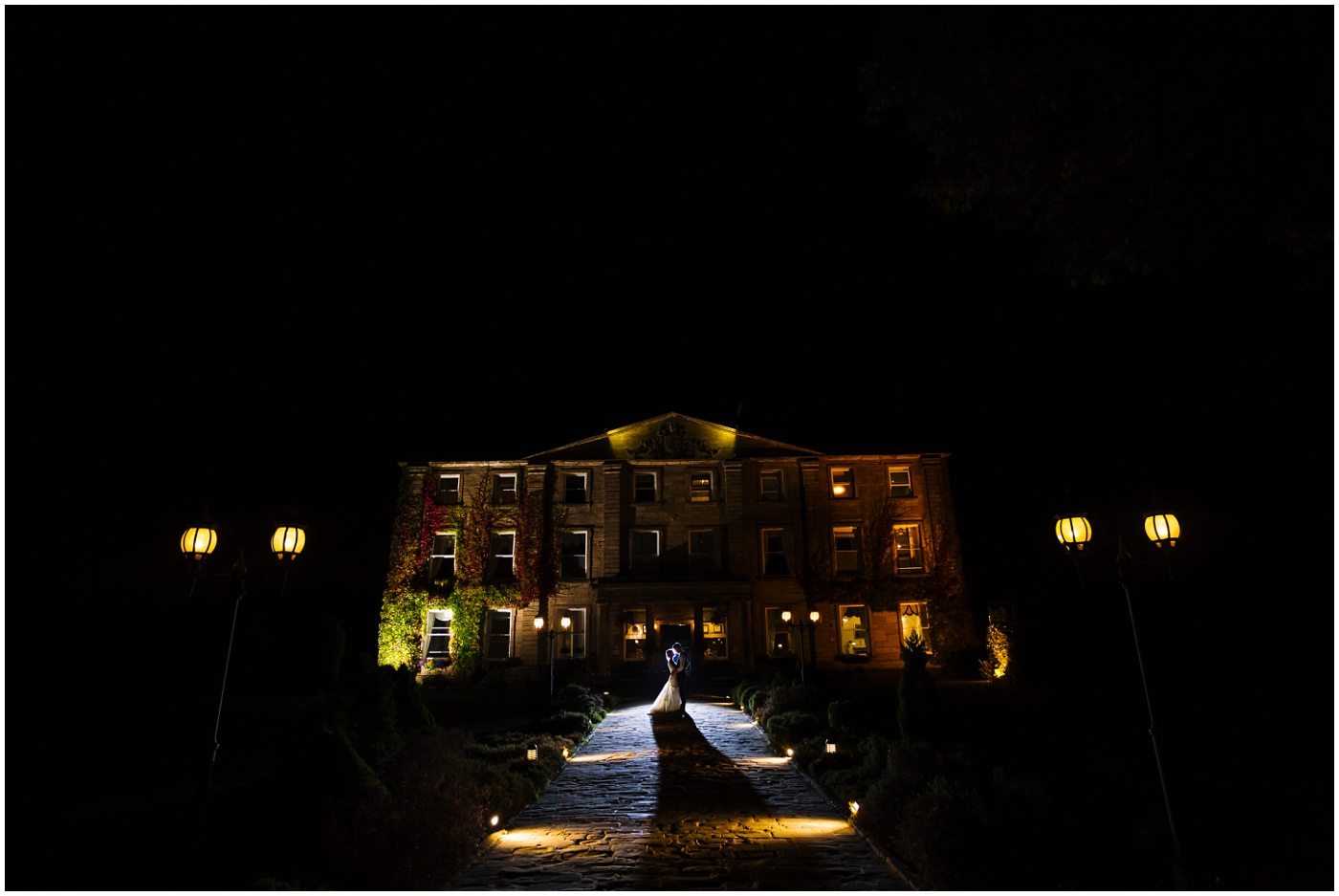 stunning wedding portrait at Walton Hall at night
