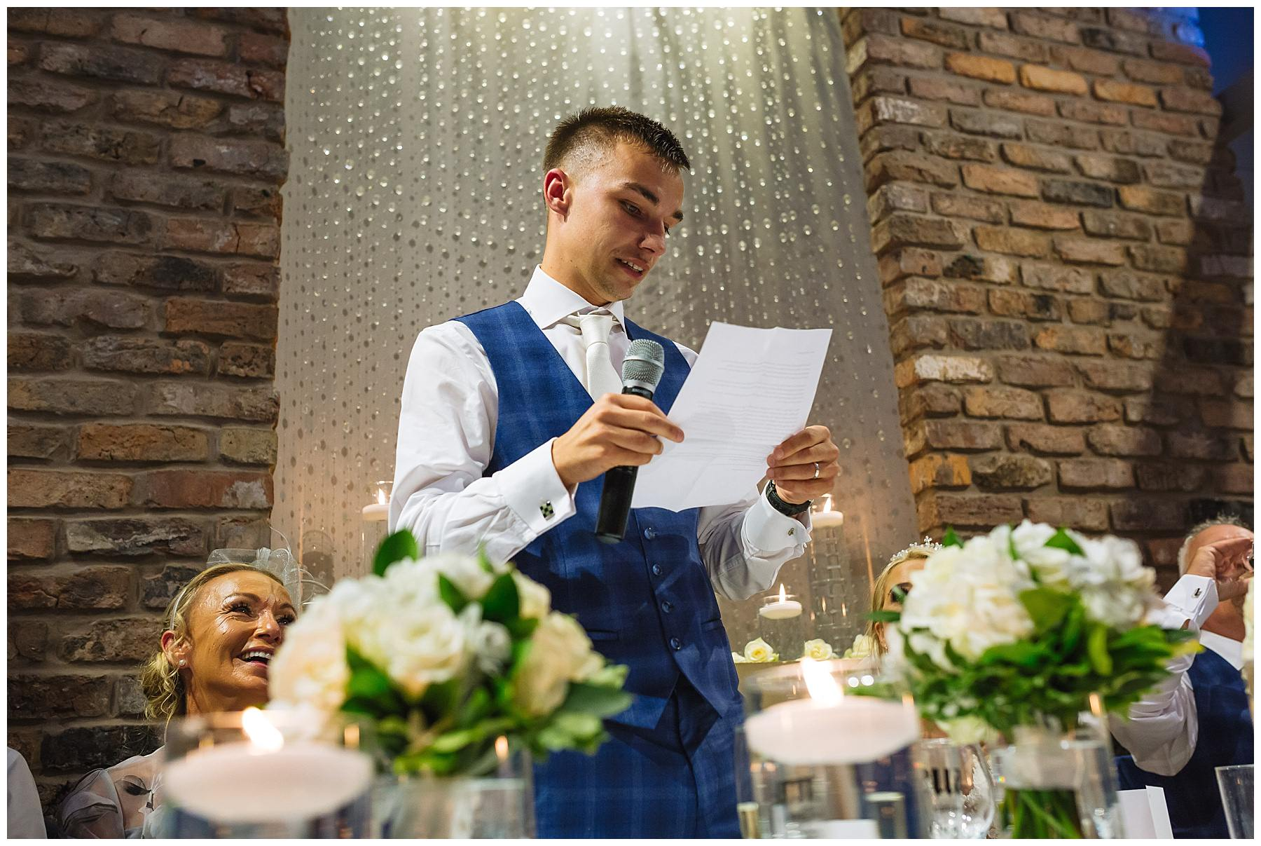Groom delivers his speech at Bartle Hall