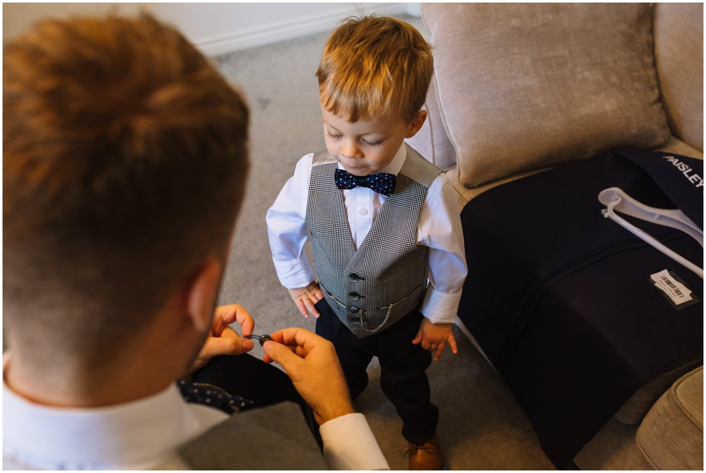 groom and son on wedding morning