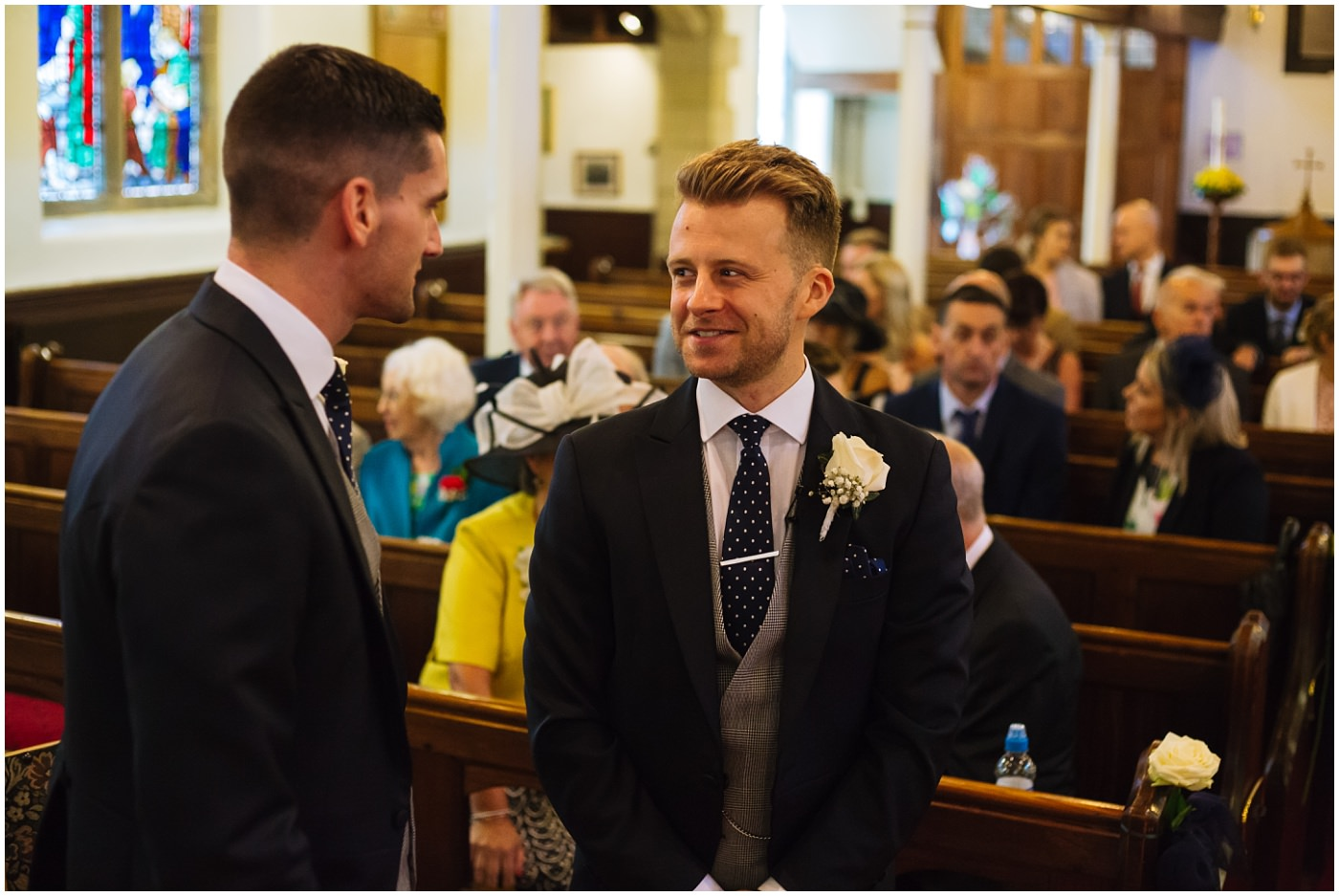 groom and best man at church