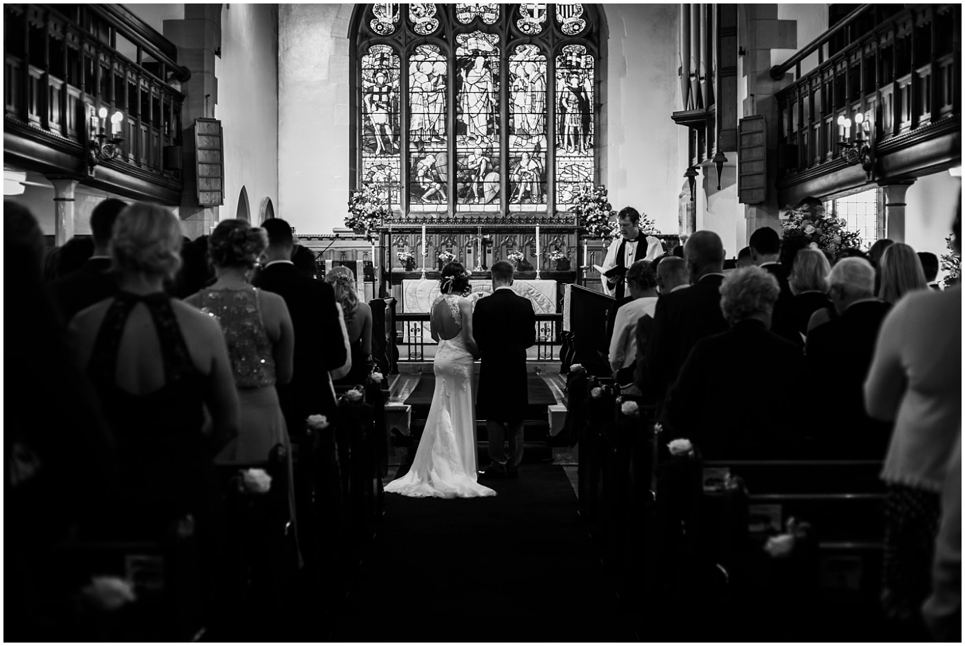 black and white wedding service