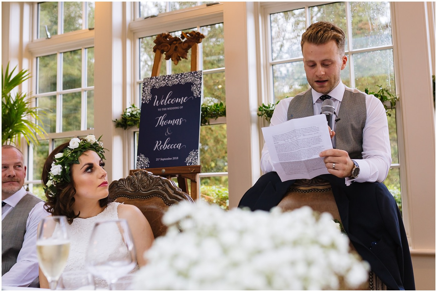 groom gives speech at mitton hall