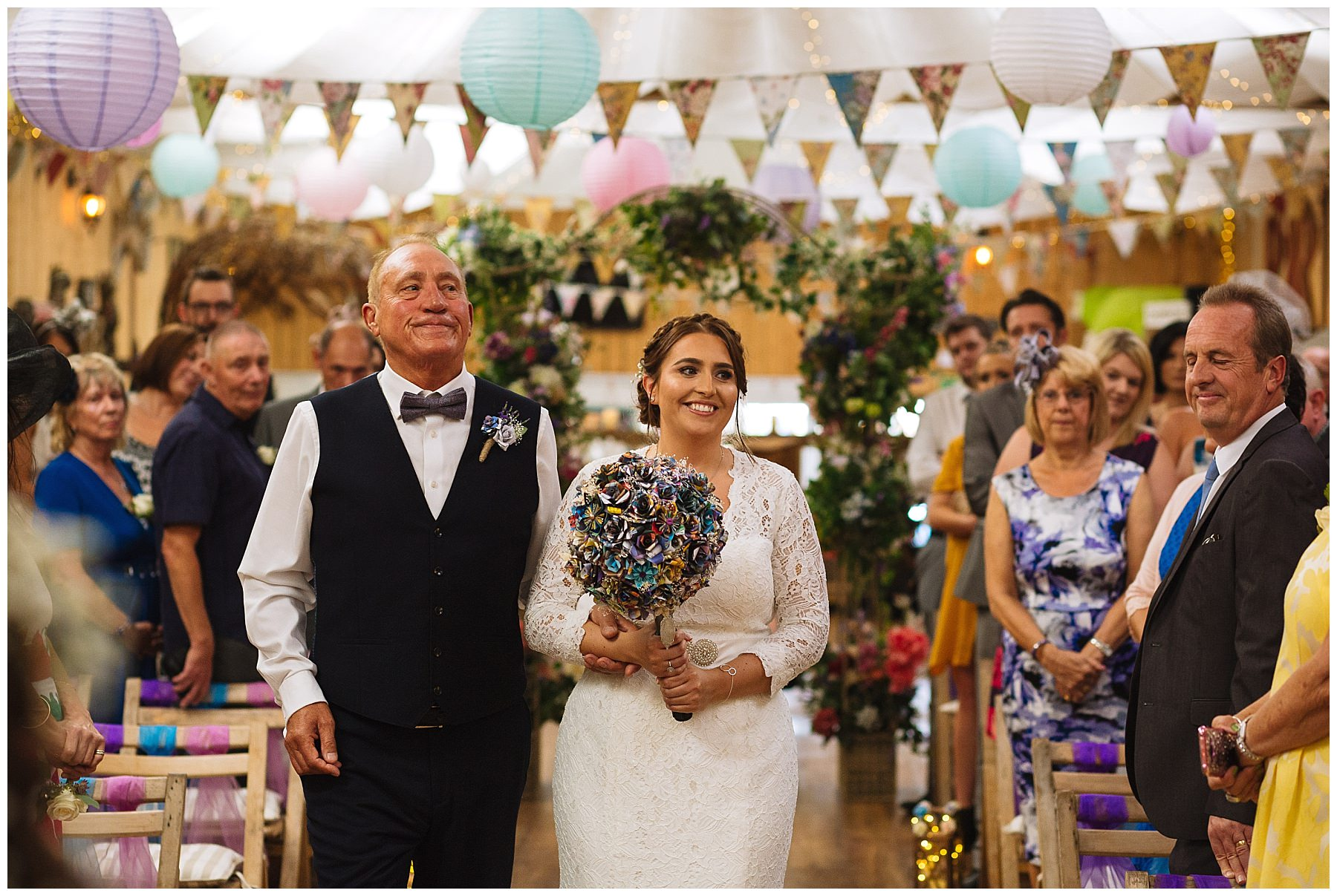 bride and father at the wellbeing farm same sex wedding