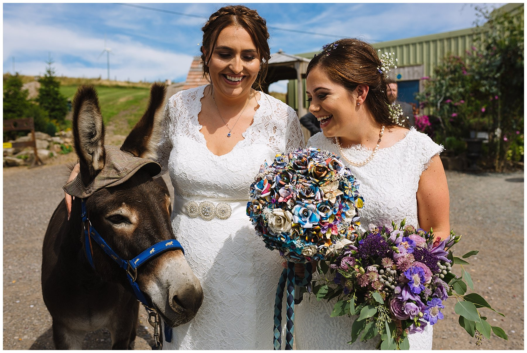 Two brides with one of the donkeys at the wellbeing farm