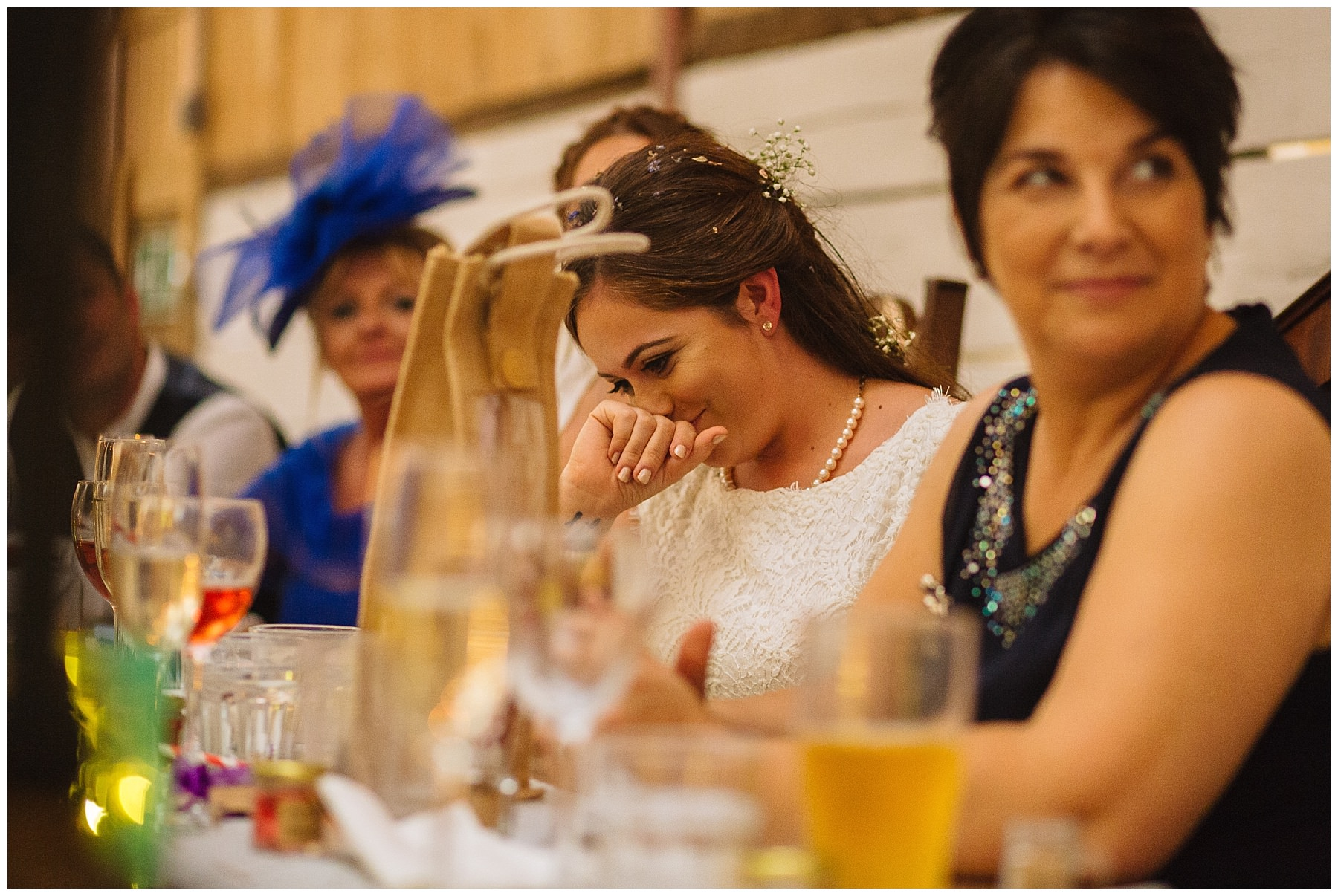 bride reacts to speech by maid of honour