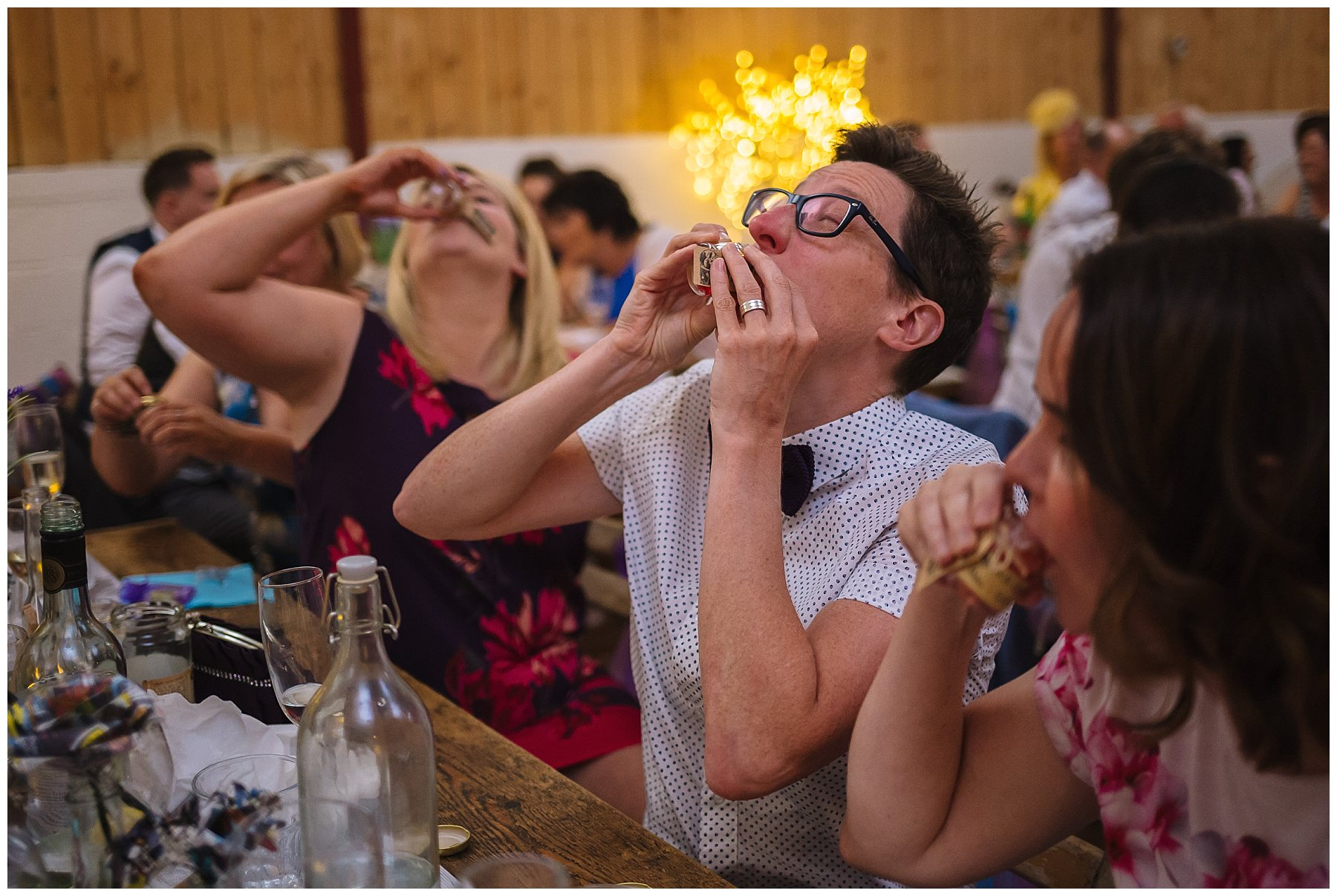 wedding guests drink favour shots