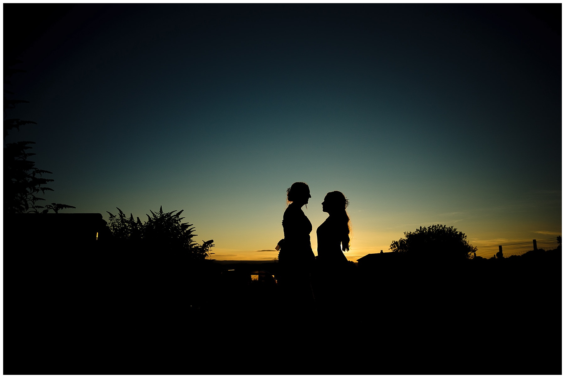 wellbeing farm wedding sunset