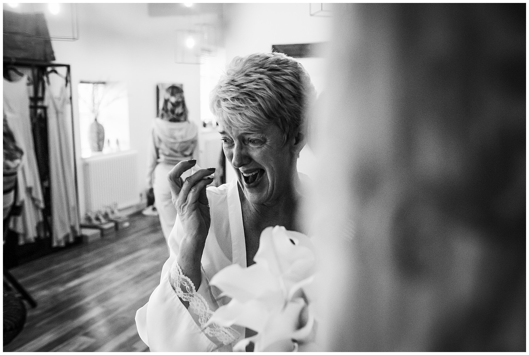 Bride gets emotional before her wedding